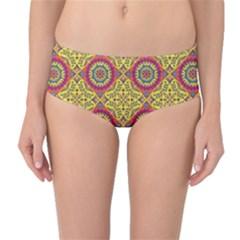 Oriental Pattern Mid Waist Bikini Bottoms