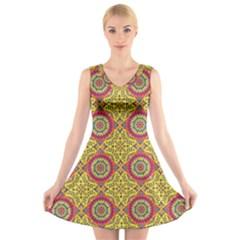 Oriental Pattern V Neck Sleeveless Skater Dress