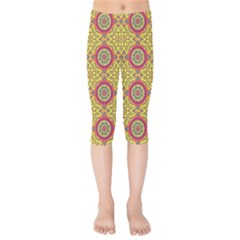 Oriental Pattern Kids  Capri Leggings
