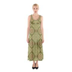 Oriental Pattern Sleeveless Maxi Dress