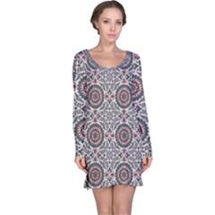 Oriental Pattern Long Sleeve Nightdress