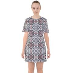 Oriental Pattern Sixties Short Sleeve Mini Dress