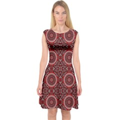 Oriental Pattern Capsleeve Midi Dress