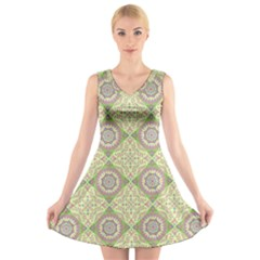 Oriental Pattern V Neck Sleeveless Skater Dress