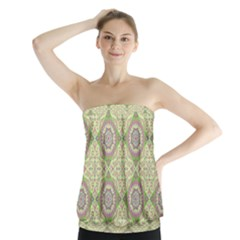 Oriental Pattern Strapless Top