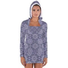 Oriental Pattern Long Sleeve Hooded T Shirt