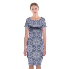Oriental Pattern Classic Short Sleeve Midi Dress