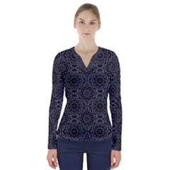Oriental Pattern V Neck Long Sleeve Top