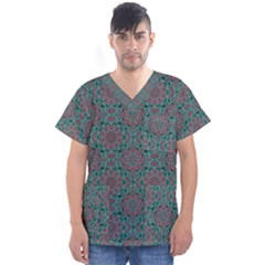 Oriental Pattern Men s V Neck Scrub Top