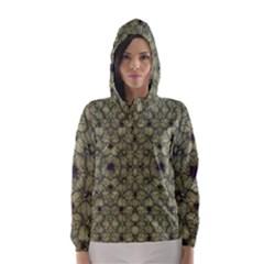 Stylized Modern Floral Design Hooded Wind Breaker (women)