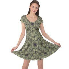 Stylized Modern Floral Design Cap Sleeve Dress