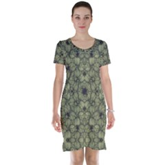 Stylized Modern Floral Design Short Sleeve Nightdress