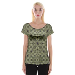 Stylized Modern Floral Design Cap Sleeve Tops
