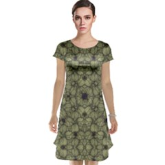 Stylized Modern Floral Design Cap Sleeve Nightdress