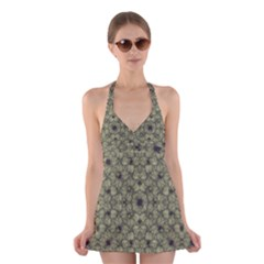 Stylized Modern Floral Design Halter Swimsuit Dress