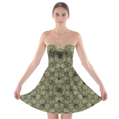 Stylized Modern Floral Design Strapless Bra Top Dress