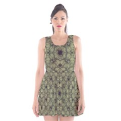 Stylized Modern Floral Design Scoop Neck Skater Dress
