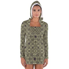 Stylized Modern Floral Design Long Sleeve Hooded T Shirt
