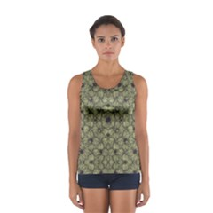 Stylized Modern Floral Design Sport Tank Top