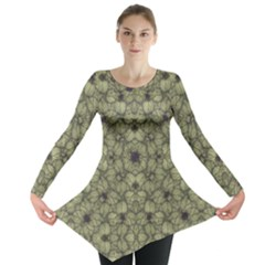 Stylized Modern Floral Design Long Sleeve Tunic