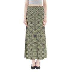 Stylized Modern Floral Design Full Length Maxi Skirt