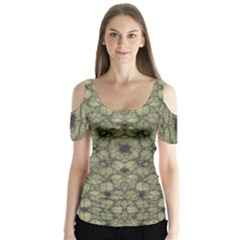 Stylized Modern Floral Design Butterfly Sleeve Cutout Tee