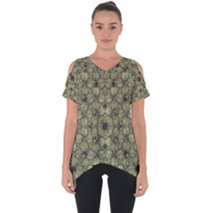Stylized Modern Floral Design Cut Out Side Drop Tee