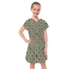 Stylized Modern Floral Design Kids  Drop Waist Dress