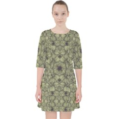 Stylized Modern Floral Design Pocket Dress