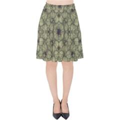 Stylized Modern Floral Design Velvet High Waist Skirt