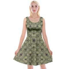 Stylized Modern Floral Design Reversible Velvet Sleeveless Dress