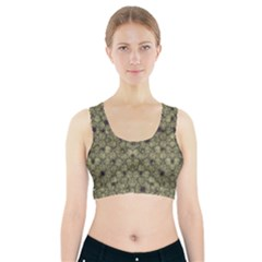 Stylized Modern Floral Design Sports Bra With Pocket