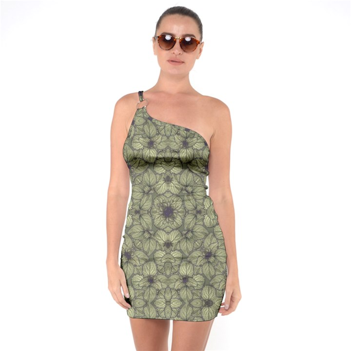 Stylized Modern Floral Design One Soulder Bodycon Dress