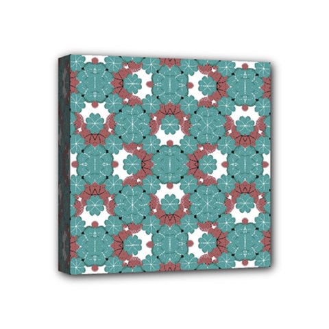 Colorful Geometric Graphic Floral Pattern Mini Canvas 4  X 4