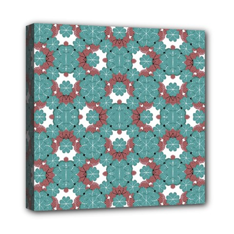 Colorful Geometric Graphic Floral Pattern Mini Canvas 8  X 8
