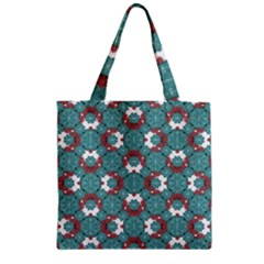 Colorful Geometric Graphic Floral Pattern Zipper Grocery Tote Bag