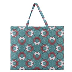 Colorful Geometric Graphic Floral Pattern Zipper Large Tote Bag