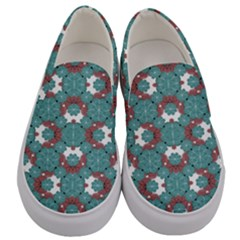 Colorful Geometric Graphic Floral Pattern Men s Canvas Slip Ons