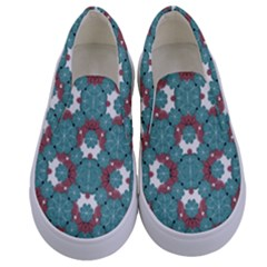 Colorful Geometric Graphic Floral Pattern Kids  Canvas Slip Ons