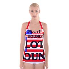 Plott Hound Name On Flag Boyleg Halter Swimsuit