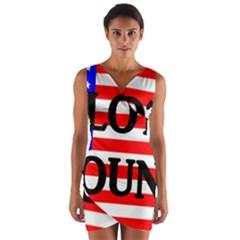 Plott Hound Name On Flag Wrap Front Bodycon Dress