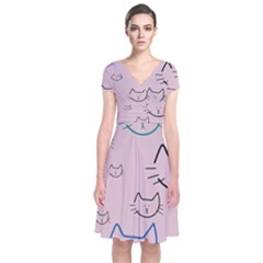 Cat Pattern Face Smile Cute Animals Beauty Short Sleeve Front Wrap Dress