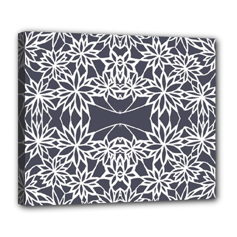 Blue White Lace Flower Floral Star Deluxe Canvas 24  X 20