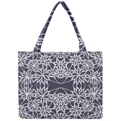 Blue White Lace Flower Floral Star Mini Tote Bag