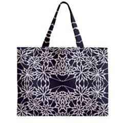 Blue White Lace Flower Floral Star Zipper Mini Tote Bag