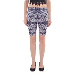 Blue White Lace Flower Floral Star Yoga Cropped Leggings
