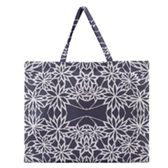 Blue White Lace Flower Floral Star Zipper Large Tote Bag