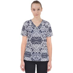 Blue White Lace Flower Floral Star Scrub Top