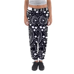 Circle Polka Dots Black White Women s Jogger Sweatpants