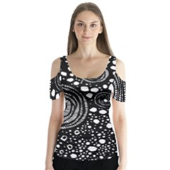 Circle Polka Dots Black White Butterfly Sleeve Cutout Tee
